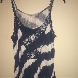Tops - Blue and white tie dye tank with crochet detail